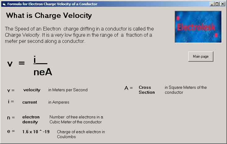 Screen Shot of Formula to find Electron Charge Velocity