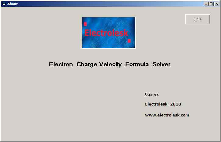 Screen Shot of  The About Page- Electron Charge Velocity Formula Solver -Electrolesk.com