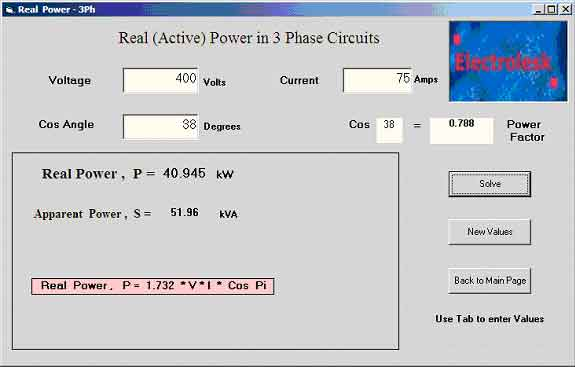Electrical Formula Calculator : Electrical formula solver and calculator programs for free
