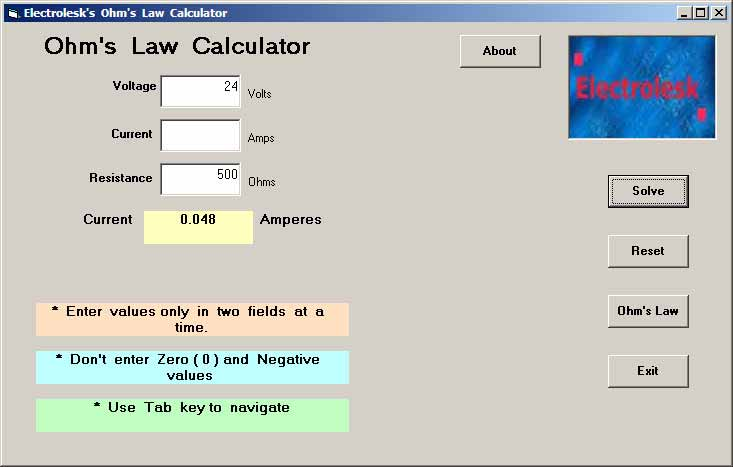 Electrical Formula Calculator : Free download page for ohm s law formula calculator and